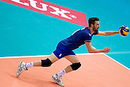 Julien Lyneel from France receives the ball during the 2013 CEV VELUX Volleyball European Championship match between France and Turkey at Ergo Arena in Gdansk on September 22, 2013.<br /> <br /> Poland, Gdansk, September 22, 2013<br /> <br /> Picture also available in RAW (NEF) or TIFF format on special request.<br /> <br /> For editorial use only. Any commercial or promotional use requires permission.<br /> <br /> Mandatory credit:<br /> Photo by © Adam Nurkiewicz / Mediasport