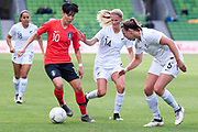 MELBOURNE, VIC - MARCH 06: Geummin Lee (10) of Korea Republic attempts to compete with New Zealand defence during The Cup of Nations womens soccer match between New Zealand and Korea Republic on March 06, 2019 at AAMI Park, VIC. (Photo by Speed Media/Icon Sportswire)
