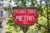 metro sign Paris France in May 2008