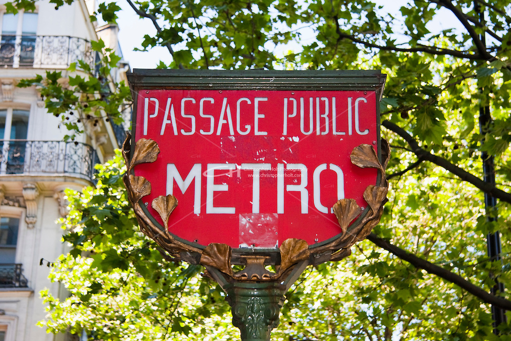 metro sign Paris France in May 2008