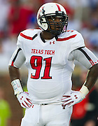 DALLAS, TX - AUGUST 30: Kerry Hyder #91 of the Texas Tech Red Raiders looks on against the SMU Mustangs on August 30, 2013 at Gerald J. Ford Stadium in Dallas, Texas.  (Photo by Cooper Neill/Getty Images) *** Local Caption *** Kerry Hyder