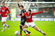 ALKMAAR - 19-12-2015, AZ - FC Utrecht, AFAS Stadion, FC Utrecht speler Rico Strieder, AZ speler Vincent Janssen