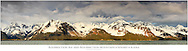 Composite panorama of evening light on the Resurrection Mountains and Resurrection Bay from Lowell Point in Seward on the Kenai Peninsula in Southcentral Alaska. Spring.