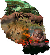 Digitally enhanced image of a Map of Tanzania collage with local images of wildlife and people