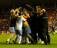 Photo. Glyn Thomas, Digitalsport<br /> NORWAY ONLY<br /> <br /> Sunderland v Crystal Palace. <br /> Division 1 Playoffs, second leg. 17/05/2004.<br /> Crystal Palace's Michael Hughes (17) is mobbed by teammates after his penalty saw his side into the final.