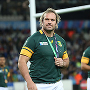 South Africa's Adriaan Strauss holding onto his winners medal during the Rugby World Cup Bronze Final match between South Africa and Argentina at the Queen Elizabeth II Olympic Park, London, United Kingdom on 30 October 2015. Photo by Matthew Redman.
