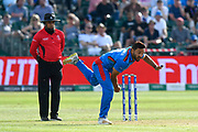 Gulbadin Naib (c) of Afghanistan bowling during the ICC Cricket World Cup 2019 match between Afghanistan and Australia at the Bristol County Ground, Bristol, United Kingdom on 1 June 2019.
