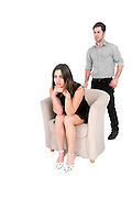 alienated couple On white Background