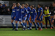 AFC Wimbledon midfielder Callum Reilly (33) dand AFC Wimbledon midfielder Anthony Wordsworth (40) celebrating after scoring goal during the EFL Sky Bet League 1 match between AFC Wimbledon and Burton Albion at the Cherry Red Records Stadium, Kingston, England on 28 January 2020.