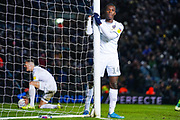 Leeds United forward Eddie Nketiah (14) reacts (with Leeds United defender Ben White (5) in the background) after a missed chance in injury time during the EFL Sky Bet Championship match between Leeds United and Cardiff City at Elland Road, Leeds, England on 14 December 2019.