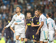 Cristiano Ronaldo disappointed during the Champions League match between Real Madrid and Tottenham Hotspur at the Santiago Bernabeu Stadium, Madrid, Spain on 17 October 2017. Photo by Ahmad Morra.