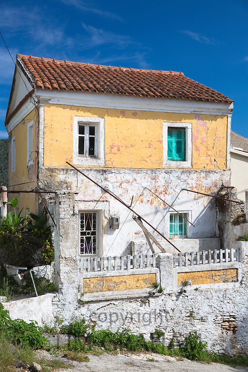 Typical Corfiot house in old village of Peroulades in Northern Corfu, , Greece