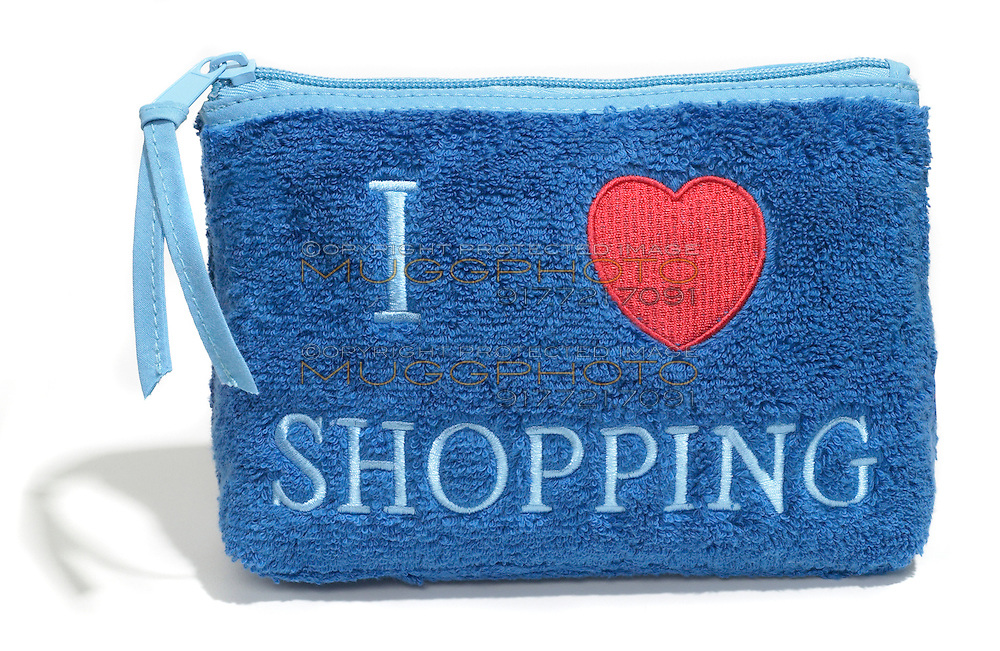 i heart shopping blue terry cloth makeup clutch