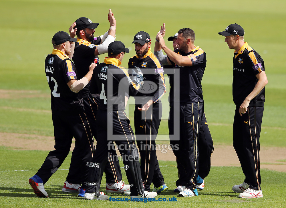 Yorkshire Vikings celebrate taking a wicket during the Royal London One Day Cup match at Emirates Riverside, Chester-le-Street<br /> Picture by Simon Moore/Focus Images Ltd 07807 671782<br /> 31/07/2016