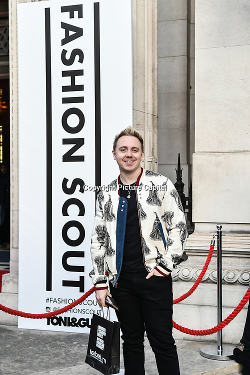 John Galea is a British singer and songwriter attend Fashion Scout LFW AW19 Day 1 at Freemasons' Hall, London, UK. 15 Feb 2019
