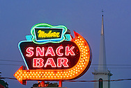 Modern Snack Bar Neon, Aquebogue, New York, Long Island, North Fork, Diner, church. dusk