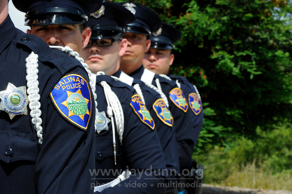 Members of the Salinas Police Department Color Guard at Monday's somber Memorial Day remembrances at the Monterey County Vietnam Veterans Memorial in Salinas.