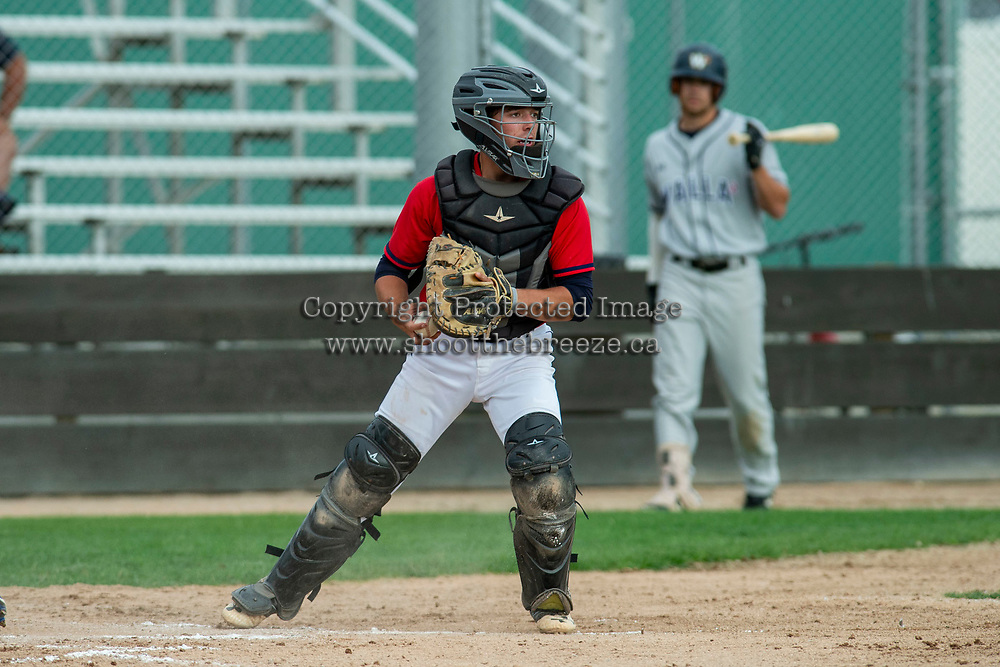 KELOWNA, BC - JULY 06:  Catcher Ezra Samperi #1 of the Kelowna Falcons stands with the ball at home plate against the Walla Walla Sweets at Elks Stadium on July 6, 2019 in Kelowna, Canada. (Photo by Marissa Baecker/Shoot the Breeze)