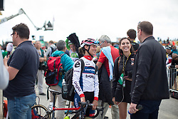 Ashleigh Moolmann-Pasio (RSA) of Cervélo-Bigla Cycling Team chats to journalists after La Course 2017 - a 67.5 km road race, from Briancon to Izoard on July 20, 2017, in Hautes-Alpes, France. (Photo by Balint Hamvas/Velofocus.com)