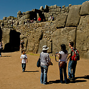South America, Peru, Cuzco, Cusco, Sacsaywaman, Sacsayhuaman, Saqsaywaman, Historic Sacsaywaman in the hills above Cuzco, Peru.