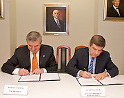 (L) PIOTR NUROWSKI - PRESIDENT POLISH OLYMPIC COMMITTEE & (R) DR THOMAS BACH - VICE PRESIDENT INTERNATIONAL OLYMPIC COMMITTEE SIGN AGREEMENT IN HEADQUARTER OF POLISH OLYMPIC COMMITTEE IN WARSAW, POLAND..WARSAW , POLAND , FEBRUARY 29, 2008.( PHOTO BY ADAM NURKIEWICZ / MEDIASPORT )