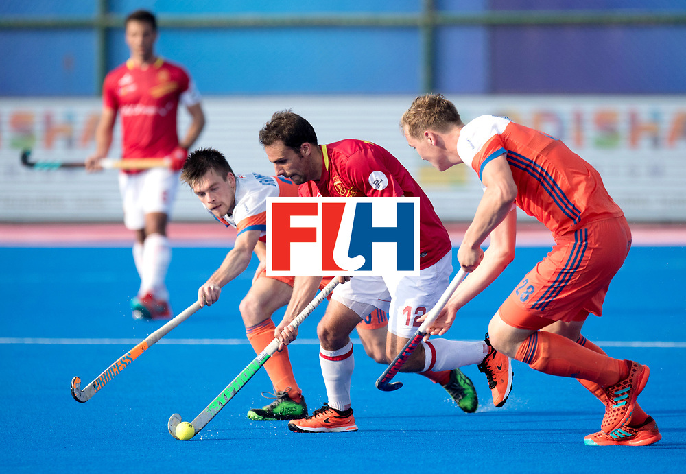 Odisha Men's Hockey World League Final Bhubaneswar 2017<br /> Match id:04<br /> Netherlands vs Spain<br /> Foto: Thierry Brinkman (Ned) (l) and Floris Wortelboer (Ned)  defending Marc Garcia (Esp) and Floris Wortelboer (Ned) <br /> WORLDSPORTPICS COPYRIGHT FRANK UIJLENBROEK