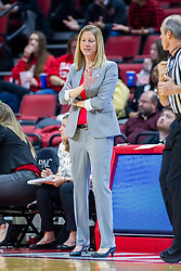 NORMAL, IL - January 05: Kristen Gillespie waves off a chat with Bill Larance during a college women's basketball game between the ISU Redbirds and the Purple Aces of University of Evansville January 05 2020 at Redbird Arena in Normal, IL. (Photo by Alan Look)
