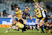 TJ Perenara on attack during the Super Rugby match, Brumbies V Hurricanes, GIO Stadium, Canberra, Australia, 30th June 2018.Copyright photo: David Neilson / www.photosport.nz
