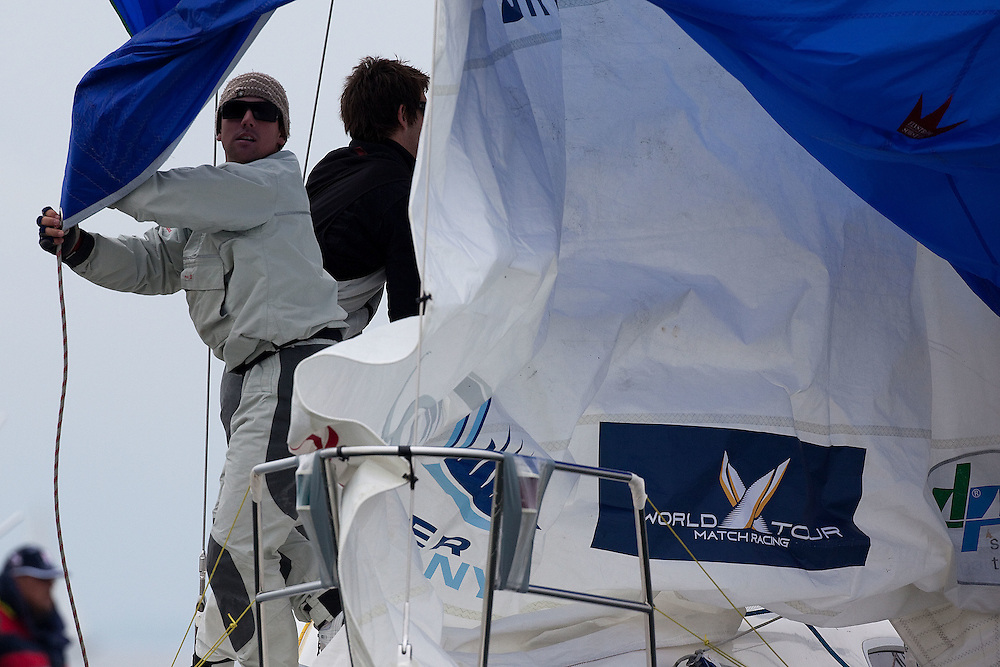 Phil Robertson of Team Proximo during a spinnaker drop on day 1 of  Match Race Germany. World Match Racing Tour. Langenargen, Germany. 20 May 2010. Photo: Gareth Cooke/Subzero Images/WMRT
