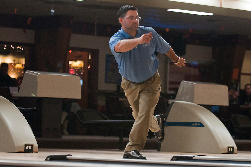 Lathan Goumas | The Bay City Times..Ray Eddy watches his ball during the Michigan Majors Bowling Association Bay Lanes Open in Bay City on Saturday. Eddy finished fifth in the event.