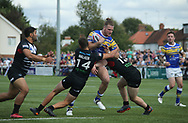 Alex Walker and Matt Davis of London Broncos tackle Anthony Mullally (C) of Leeds Rhinos during the Super 8s Qualifiers match at Trailfinders Sports Club, Ealing<br /> Picture by Stephen Gaunt/Focus Images Ltd +447904 833202<br /> 19/08/2018