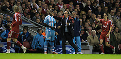 Liverpool, England - Wednesday, October 3, 2007: Liverpool's manager Rafael Benitez changes his mind about substituting Fernando Torres during the UEFA Champions League Group A match against Olympique de Marseille  at Anfield. (Photo by David Rawcliffe/Propaganda)