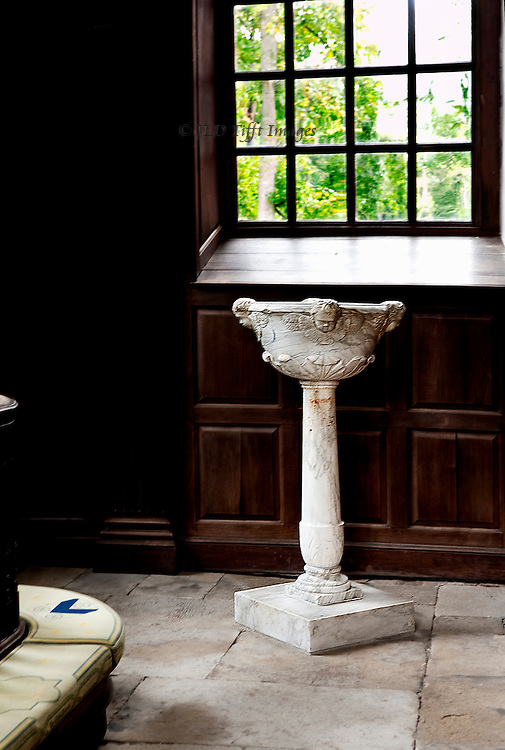 """Perfect American Georgian brick church, funded by Robert """"King"""" Carter in 1735.  Central plan, carved walnut pews and pulpit.  Carfully preserved and devotedly maintained by a private organization. Detail of the free standing white marble baptismal font."""