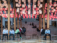 """The Luminaries"" an interactive light installation at Winter Garden in Battery Park City."