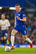 Chelsea midfielder Ross Barkley (8) on the ball during the EFL Cup semi final second leg match between Chelsea and Tottenham Hotspur at Stamford Bridge, London, England on 24 January 2019.