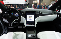 Interior dashboard view of Tesla Model X at Paris Motor Show 2016