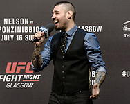 """GLASGOW, UNITED KINGDOM, JULY 15, 2017: Mixed martial arts analyist and commentator Dan Hardy is pictured on stage hosting a fan Q&A session ahead of """"UFC Fight Night Glasgow: Nelson vs. Ponzinibbio"""" inside the SSE Hydro Arena in Glasgow"""