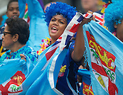 Fijian fan singing at the Hong Kong Stadium, Hong Kong on 28 March 2015. Photo by Ian Muir....during the Hong Kong Sevens 2015 match between ........... at Hong Kong Stadium, Hong Kong on 27 March 2015. Photo by Ian Muir.