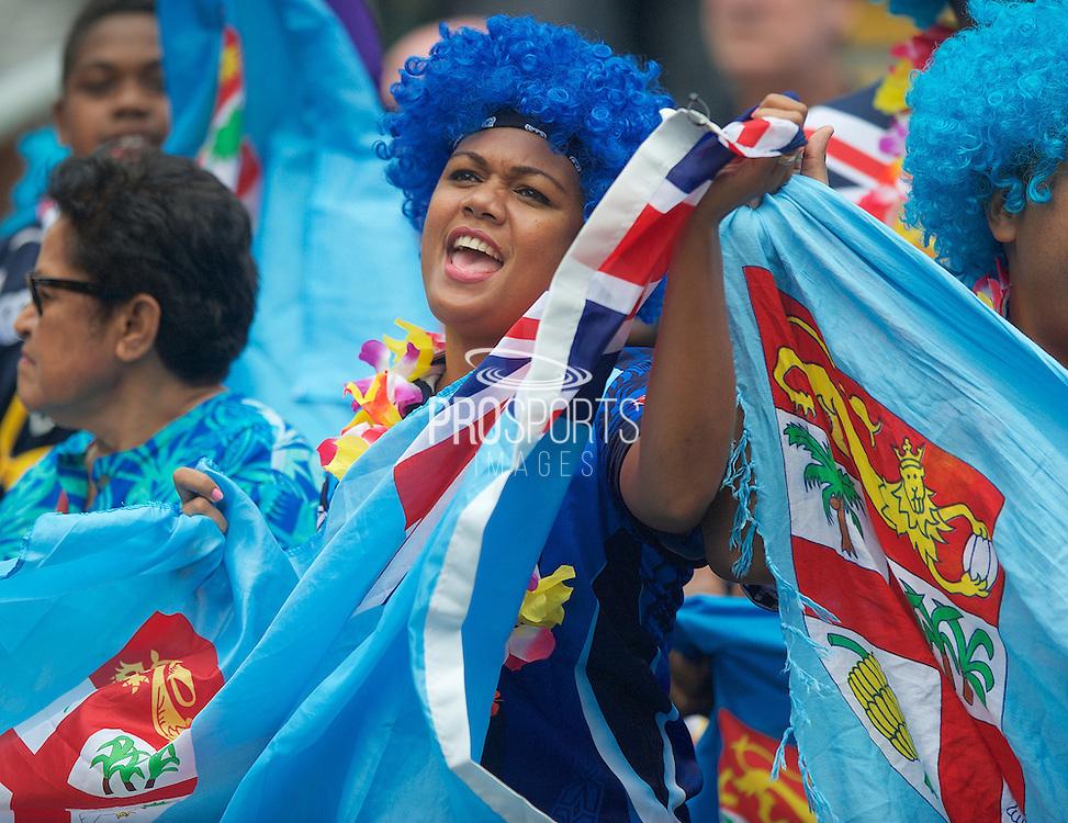 Fijian fan singing at the Hong Kong Stadium, Hong Kong on 28 March 2015. Photo by Ian Muir....during the Hong Kong Sevens 2015 match between ........... at Hong Kong Stadium, Hong Kong on 27 March 2015. Photo by Ian Muir.