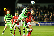 Forest Green Rovers Dale Bennett(2) heads the ball during the EFL Sky Bet League 2 match between Forest Green Rovers and Swindon Town at the New Lawn, Forest Green, United Kingdom on 22 September 2017. Photo by Shane Healey.
