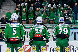 Players greet fans after ice-hockey match between HDD Tilia Olimpija and HC Znojmo Orli in 24th Round of EBEL league, on November 22, 2011 at Hala Tivoli, Ljubljana, Slovenia. HDD Tilia Olimpija won 5:2. (Photo By Matic Klansek Velej / Sportida)