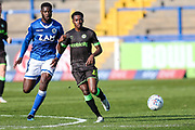 Forest Green Rovers Reece Brown(10) passes the ball forward during the EFL Sky Bet League 2 match between Macclesfield Town and Forest Green Rovers at Moss Rose, Macclesfield, United Kingdom on 29 September 2018.