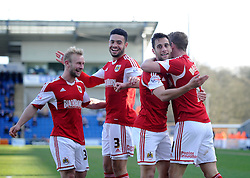 Bristol City's Sam Baldock celebrates with his team mates after scoring. - Photo mandatory by-line: Dougie Allward/JMP - Mobile: 07966 386802 22/03/2014 - SPORT - FOOTBALL - Colchester - Colchester Community Stadium - Colchester United v Bristol City - Sky Bet League One