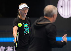 September 28, 2018 - Caroline Wozniacki of Denmark practices at the 2018 China Open WTA Premier Mandatory tennis tournament (Credit Image: © AFP7 via ZUMA Wire)
