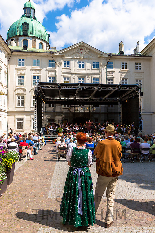 Promenade concert of Strauss, and Wagner in Hofburg Palace in courtyard of the Imperial Palace in Innsbruck, the Tyrol, Austria