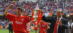CARDIFF, WALES - SATURDAY, MAY 13th, 2006: Liverpool's Steven Gerrard and manager Rafael Benitez lift up the FA Cup after victory over West Ham United after the FA Cup Final at the Millennium Stadium. (Pic by Jason Roberts/Propaganda)