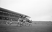 Players jump for the ball during the All Ireland Senior Gaelic Football Final Kerry v. Galway in Croke Park on the 26th September 1965. Galway 0-12 Kerry 0-09.