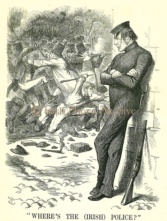 Where's the (Irish) Police?': William Gladstone, British Prime Minister, watching the unrest in Ireland and waiting to intervene. In  April a new Irish Peace Preservation Act was passed by Parliament.   John Tenniel cartoon from 'Punch', London, 12 March 1870.