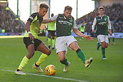 Lewis Stevenson blocks Scott Sinclair during the Ladbrokes Scottish Premiership match between Hibernian and Celtic at Easter Road, Edinburgh, Scotland on 16 December 2018.