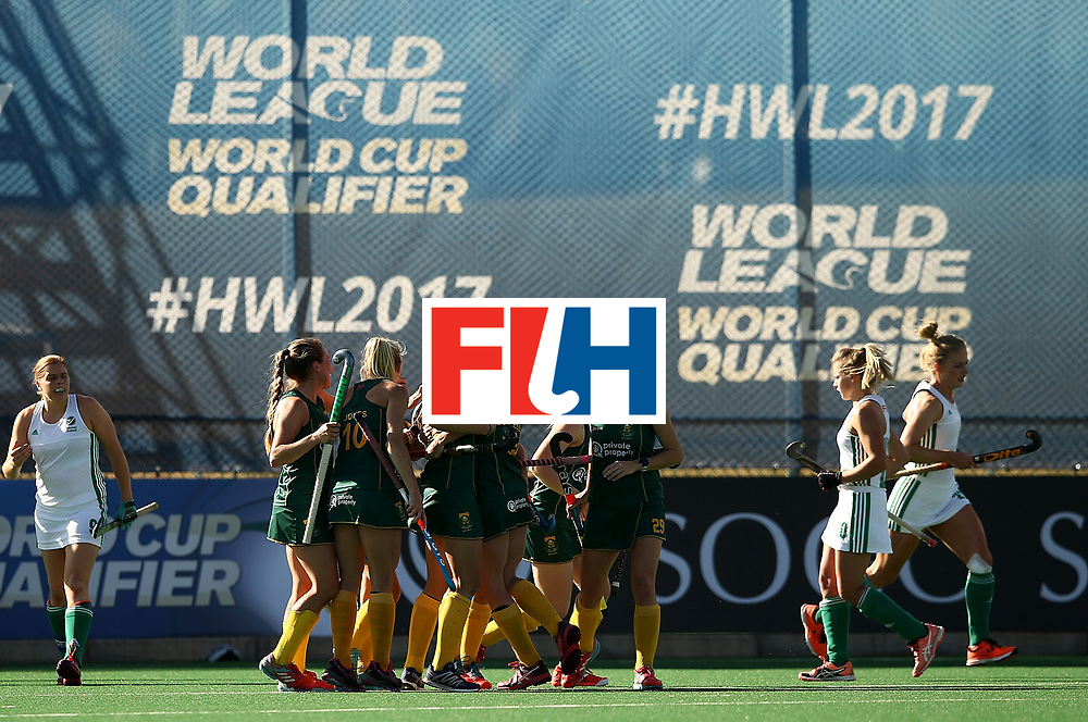 JOHANNESBURG, SOUTH AFRICA - JULY 20:  Lisa-Marie Deetlefs of South Africa celebrates her goal with team mates during the 5th/ 8th place play-off match between South Africa and Ireland at Wits University on July 20, 2017 in Johannesburg, South Africa.  (Photo by Jan Kruger/Getty Images for FIH)
